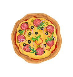 Appetizing round pizza with salami fast food vector