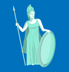 Athena or athene marble statue on blue background vector