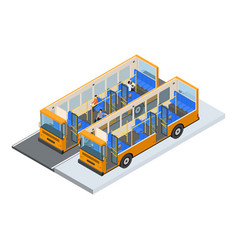 autobus and elements part isometric view vector image vector image