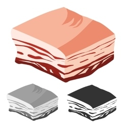 Bacon cut fresh meat products vector