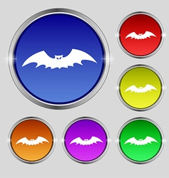 Bat icon sign Round symbol on bright colourful vector