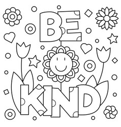 Be kind coloring page vector