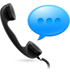 black handset and blue speechbox for design on vector image