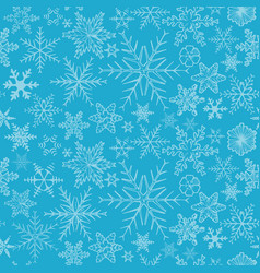 blue snowflakes on white background vector image
