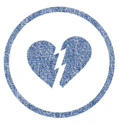 broken heart rounded fabric textured icon vector image