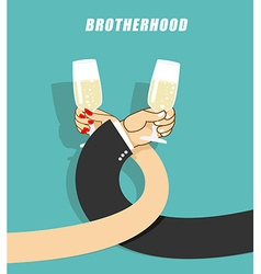 Brotherhood to drink alcohol Man and woman vector