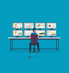 Businessman sitting and monitoring stock market vector