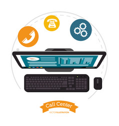 Call center computer assistance online vector