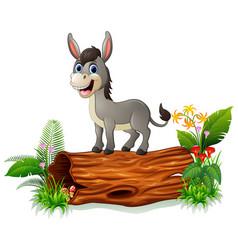 Cartoon baby donkey on tree trunk vector