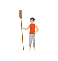 Chinese man standing and holding wooden oar vector