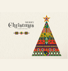 christmas and new year vintage holiday pine tree vector image