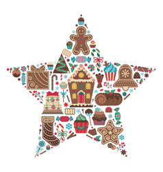 christmas sweet treats in star shape print vector image
