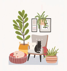 Comfy living room interior with cats sitting on vector
