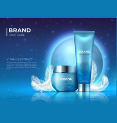 Cosmetic product background night skin care vector