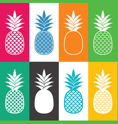 Creative abstract pineapple icons vector