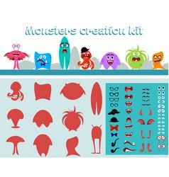 Cute cartoon monster creation kit in flat style vector