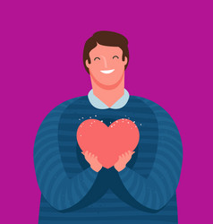 Cute guy holds tenderly a heart in his hands love vector