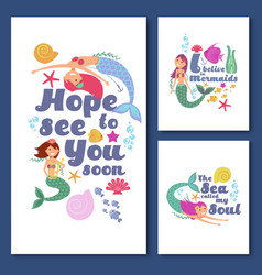 Cute kids nautical cards marine childrens vector