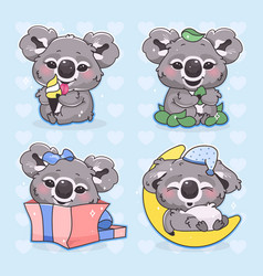 Cute koala kawaii cartoon characters set adorable vector