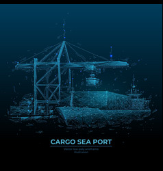 Digital cargo sea port vector
