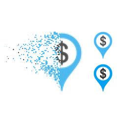 Disintegrating dot halftone bank map marker icon vector
