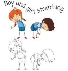 Doodle children stretching on white background vector
