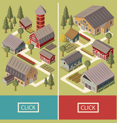 farm isometric banners vector image vector image