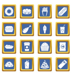 Fast food icons set blue vector
