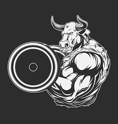 Ferocious bull with a barbell vector