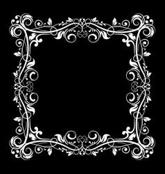 floral frame decorative square border on black vector image