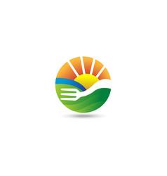 fork farming landscape logo vector image
