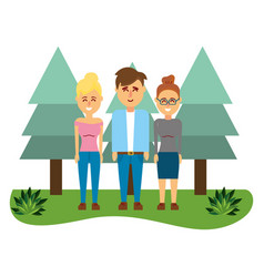 friends young people cartoon vector image