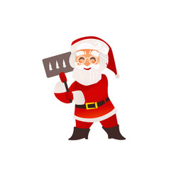 funny santa claus in glasses with christmas sign vector image