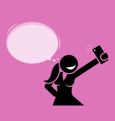 girl taking a selfie photo with her phone camera vector image