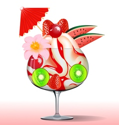 ice cream with strawberry kiwi cherry tree and flo vector image