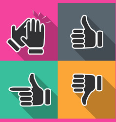 Icons in flat hand gestures vector