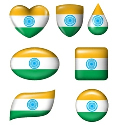 Indian flag in various shape glossy button vector image