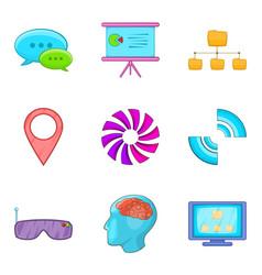 Internet host icons set cartoon style vector