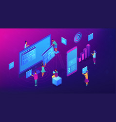 isometric content marketing team vector image