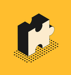 Isometric piece puzzle icon isolated on yellow vector