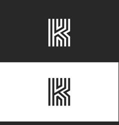 Letter k logo minimal moogram linear design vector