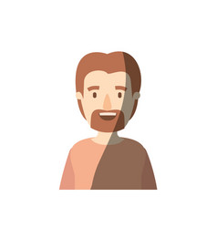 Light color shading caricature half body man with vector