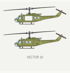 Line flat color icon set military turboprop vector