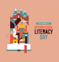 Literacy day open book story city landscape card vector