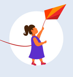 little cute girl launching kite child having fun vector image
