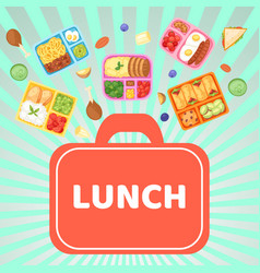 Lunch box with food banner vector