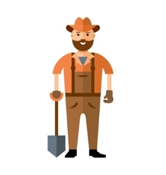 Man with shovel ready to work Flat style vector image