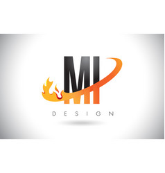 Mi m i letter logo with fire flames design and vector