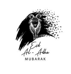 muslim holiday eid al-adha greeting card with goa vector image