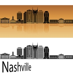 Nashville skyline in orange vector image